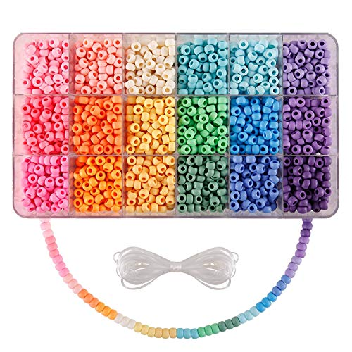 2600+pcs Pony Beads Kit Opaque Matte Rainbow Plastic Craft Multicolor Pony Beads in 18 Colors with Elastic String and Storage Box for Hair Braiding DIY Bracelet Necklace Key Chain and Jewelry Making