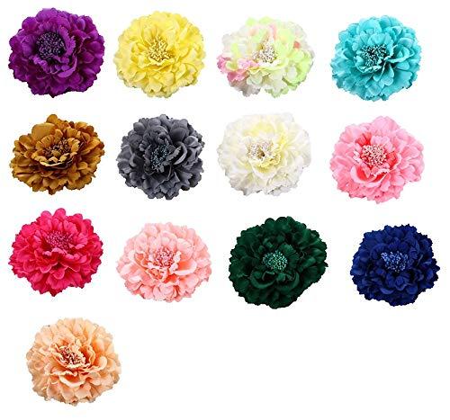 Dosige 13 Pcs Pince à Cheveux Grande Fleur Pivoine Accessoires de Chapeau de Paille Fleur Robe de Plage Bord de mer Vacances Fleurs tête Accessoires de Cheveux