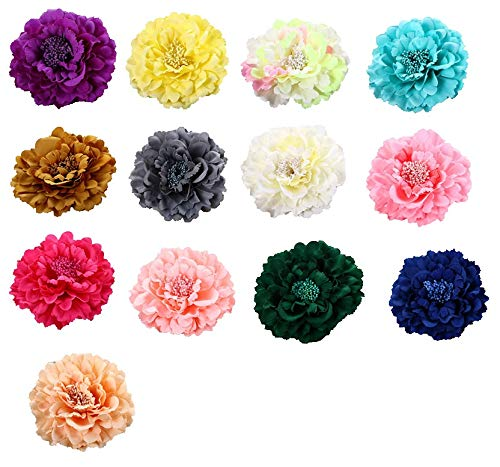 Dosering, 13 stuks pioenroos bloem haarclip strohoed accessoires bloem strand rok vakantie bloemen hoofdtooi bloem
