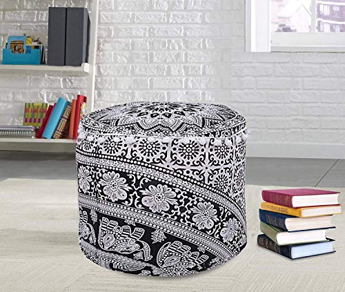 Item : 1 PC Mandala Round Ottomans Cover Size 22 X 22 X 14 Inches.and 18 x 18 x 13 Inches Care Instructions: Dry clean only. Disclaimer: Color may slightly vary due to monitor resolution Production Technique: Screen Printed Cotton Fabric Pouf Cover h...