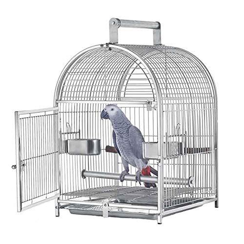 ZWW Reise Vogelkäfig, Tragbarer Edelstahl Quadratischer Kuppel Papagei Vogelhaus Spielplatz Mit Fütterungsbecher & Barsch