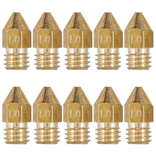 Tangxi Ugelli Stampante 3D, Ugello MK8 da 10 Pezzi,Ugello Estrusore 1.75mm/1mm,Ugello per Estrusore in Ottone di Alta qualità per Stampante 3D Makerbot Creality CR-10 RepRap Pursa i3