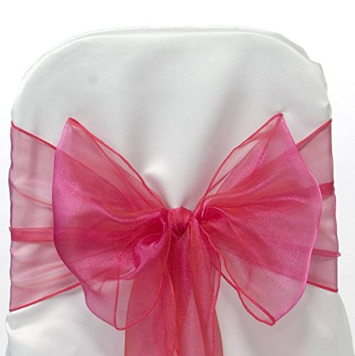 mds Pack of 50 Organza chair sashes bow Sash for wedding and Events Supplies Party Decoration chair cover sash -magenta
