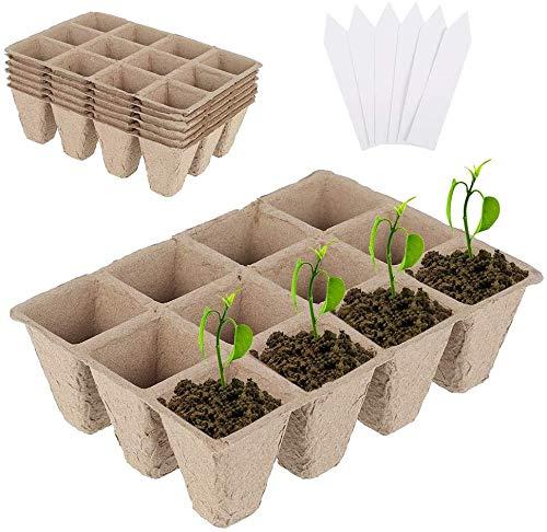 6Pcs Bandejas de Inicio de Plántulas Biodegradables, con 6 Etiquetas de Plantas para Jardines, Parches de Verduras, Frutas, Viveros e Invernaderos, Biodegradable Compostable
