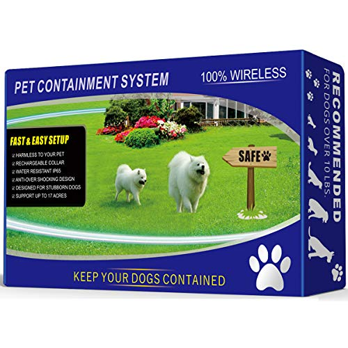 1 Dog Wireless Pet Containment System - Rechargeable and Waterproof...