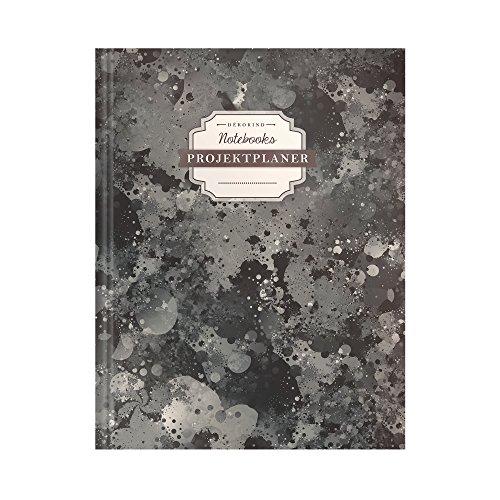 DÉKOKIND Projektplaner | DIN A4, 100+ Seiten, Register, Kontakte, Vintage Softcover | Für über 50 Projekte geeignet| Motiv: Schwarze Tinte