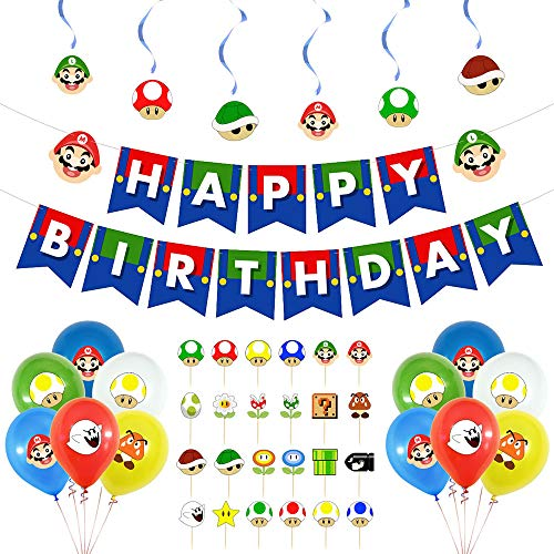 Super Mario Birthday Party Supplies Set with Mario Balloons Super Mario Happy Birthday Banner Cake Toppers Spiral ornaments for Mario Party Decorations…