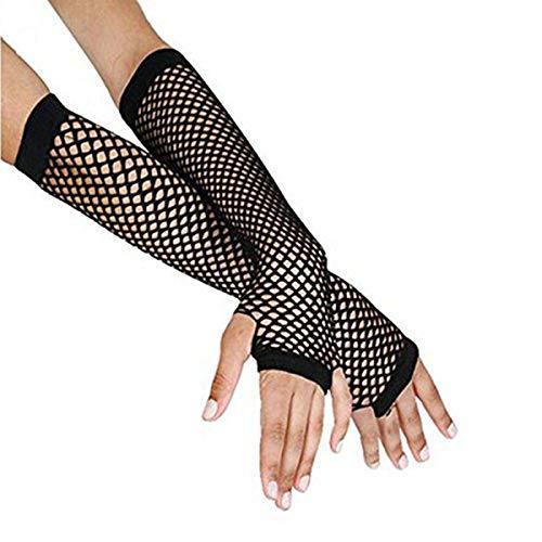 JJsmile Punk Goth Schwarze Netzhandschuhe für Damen - Lange Fischnetz Handschuhe für 80er Kostümabend Partyzubehör