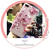 CaserBay】Compatible with - iPhone 8 Plus Case iPhone 7 Plus Phone Case (5.5') Cartoon Kawaii Cute Animal, Birdie, Flower Series Emboss Texture Painting Translucent Soft Slim Phone Cover (Flower C)