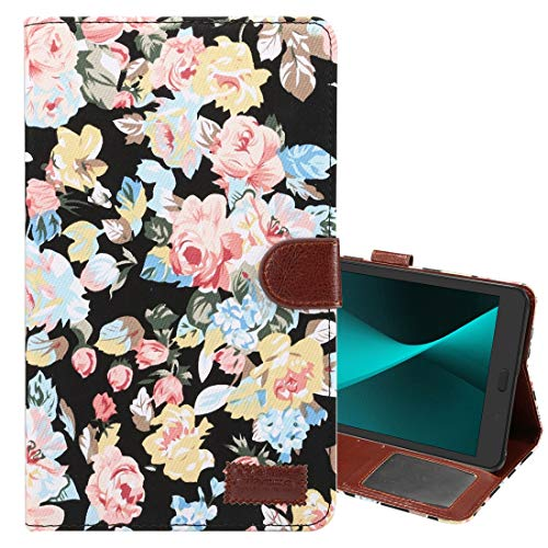 ZENGMING Tablet PC Case Cover for Galaxy Tab A 8.0 (2017) / T380 / T385 Flower Pattern Cloth Surface PU Leather Case with Holder & Card Slots & Wallet (Black) (Color : Black)