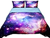 Anlye Galaxy Quilt Cover Queen Galaxy Duvet Cover Outer Space Bedding Set with 2 Matching Pillow Covers(Queen 3PCS)