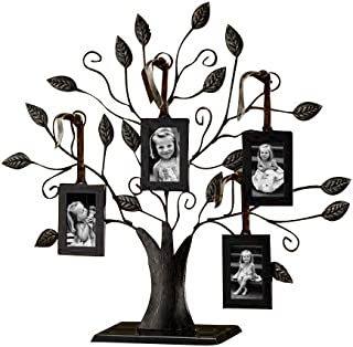 Philip Whitney Bronze Family Tree of Life Centerpiece Display Stand with 4 Hanging Photo Picture Frames, 13