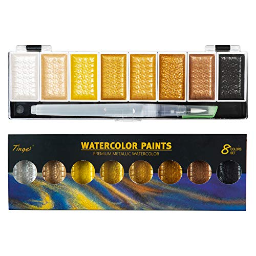 Tinge Portable Metallic Water Color Paint, 8 Shimmery Colors, Artist Glitter Solid Watercolors with 1 Water Brush for Artists, Students and Painting Beginners