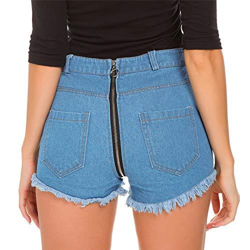 ZHER-LU Damen Denim Shorts Hot Pants High Waist Cutoff Jeans Back Butt Zipper Sommer Casual Pants für Strand Urlaub Alltag (M) Blau