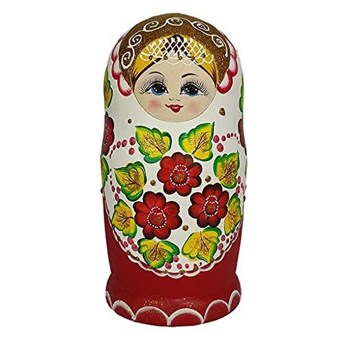 MKVRS 10. PCS. Giocattolo di Matryoshka Russo, Regalo di Festa di Compleanno per Bambini, Principessa Matryoshka Bambola in Legno Set di Bambola Giocattolo educativo (Color : A)
