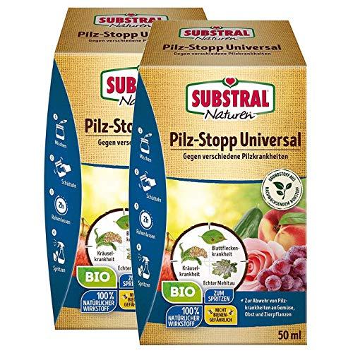 Gardopia Sparpack Substral Naturen Pilz-Stopp Universal, Fungizid gegen Verschiedene Pilzkrankheiten, 2 x 50 ml Plus Zeckenzange mit Lupe