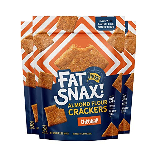 Fat Snax Sea Salt Almond Flour Crackers - Low-Carb and Gluten-Free Keto Crackers with 7g of Healthy Fats - 1-2 Net Carb Keto Snacks - Cheddar, 3-Pack)