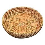 Bopfimer Cesta redonda de mimbre hecha a mano para otoño, cesta de frutas, cesta de pan, cesta de mimbre para cocina, alimentos, picnic, pan