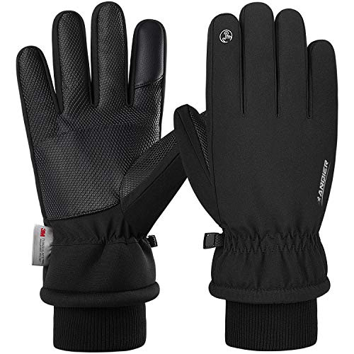 Anqier Winter Gloves,-15°F Cold Proof Thermal 3M Thinsulate Warm Touchscreen Cold Weather Gloves Men Women for Smartphone Texting Cycling Riding Running Skiing Outdoor Sports (Large, Black)