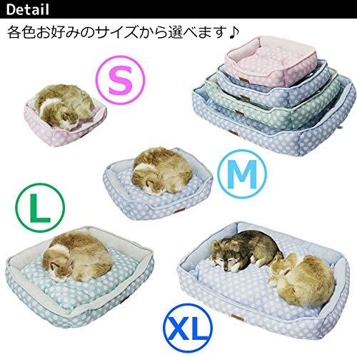 犬猫メッシュパイルマットポルカドット柄(M,ブルー)
