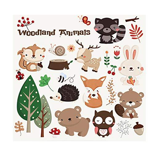 Lumanuby 1x Bunt Entfernbar Wandaufkleber Tier PVC Karikatur Kaninchen/Eichhörnchen/Bär/Eule Wall Sticker zur Kinderzimmer/Kindergarten/Schränke 63 * 30.0CM, Wandtattoo Serie