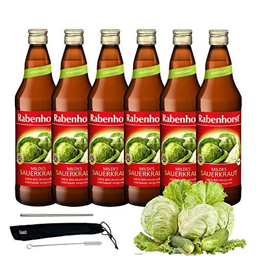 Rabenhorst Saft Mildes Sauerkraut 6x 700ml Vegan Bio-Sauerkrautsaft - Milchsauer vergoren - 100% Bio-Direktsaft PLUS fooodz-Trinkhalm Set mit Reinigungsbürste