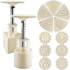 Senhai 2 Juegos Mooncake Mold Press 50g con 11 Sellos, Flor y Triángulo Forma Herramientas de Decoración para Hornear DIY Cookie - Blanco