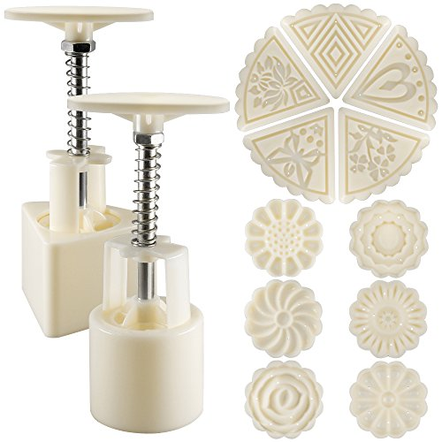 Senhai 2 Sets Mooncake Mould Press 50g mit 11 Briefmarken, Blumen und Dreieck Form Dekoration Werkzeuge für Backen DIY Cookie - Weiß