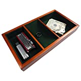 Launch Innovative Products Walter Wooden Valet Tray with 3 Compartment Leatherette Organizer Box for Wallets, Coins, Keys, and Jewelry