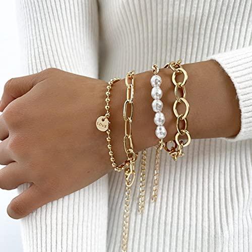 DOOLY Punk gótico imitación Perlas de Bloqueo Pulseras Femenino Nudo Flor Pulsera brazaletes para Mujeres Moda joyería de Moneda de Oro