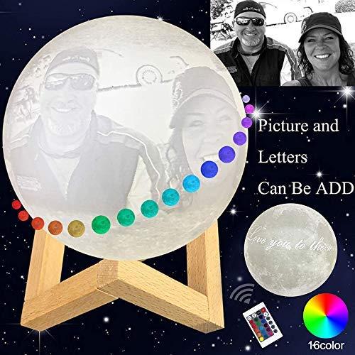 16 Farben Mond Lampe Besonders Angefertigt Mit Foto, Personalisiertes Foto 3d Drucken Mond Licht Beste Geschenke Für Baby Kinderliebhaber Geburtstag