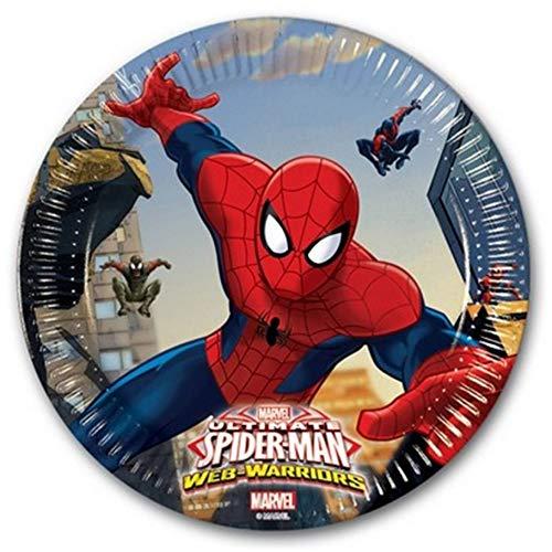 takestop® 8-delig bord, papier 19,5 cm, Spider-Man Marvel USA en Getta Land_85151 verjaardag geboorte doop party