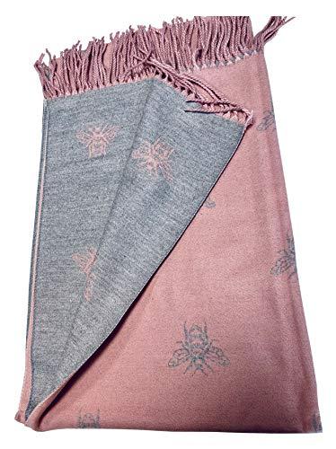 BUMBLE BEES Super Soft Pink Grey - Pañuelo con bonitas tachuelas para los reversos, suave y cálido
