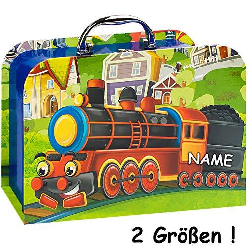 alles-meine.de GmbH Kinderkoffer / Koffer - MITTEL - lustige Eisenbahn - incl. Name - für Spielzeug und als Geldgeschenk - Mädchen & Jungen - Kinder & Erwachsene - Pappe Karton -..