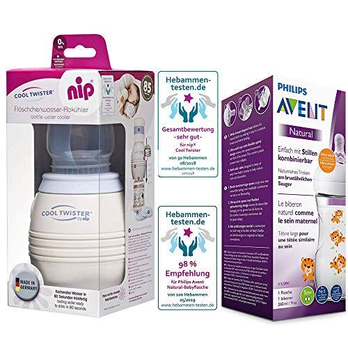 NIP Flaschenkühler Cool Twister NEU inkl. inkl. 1 x Philips Avent NaturNah Flasche mit Motiv 260ml mit Sauger 1 Mo+