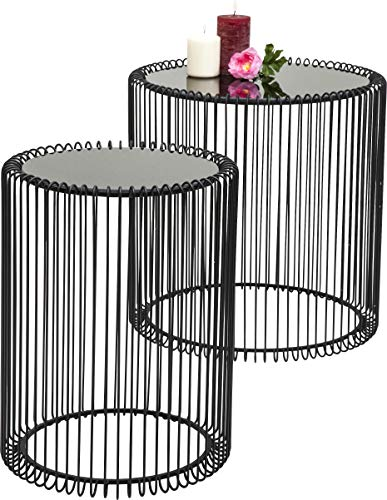 Lot de 2 Tables Basses Rondes en Verre Moderne, Noir, 44 cm