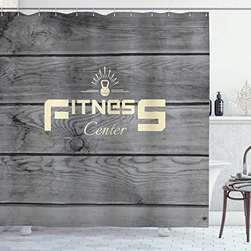 ABAKUHAUS Fitness Duschvorhang, Club Wood Planks, Wasser Blickdicht inkl.12 Ringe Langhaltig Bakterie & Schimmel Resistent, 175 x 180 cm, Hellgelb Schwarz