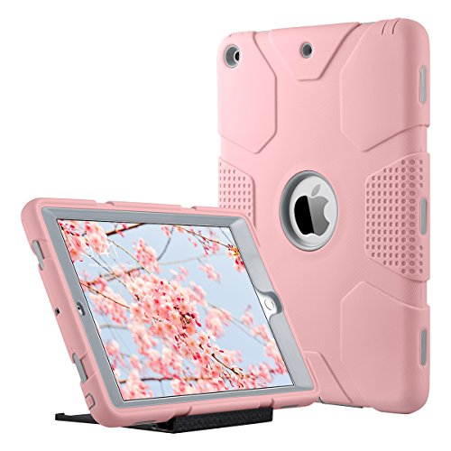 ULAK iPad 9.7 inch 2018/2017 Case, [Armor series] Heavy Duty Shockproof Protective Cover with Stand Function 3 in 1 Soft Silicone + Hard PC Case Cover for Apple iPad 9.7 inch 2018/2017 - Rose Gold