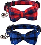 DAIXI 2 Pack/Set Cat Collar Breakaway with Cute Bow Tie and Bell for Kitty and Some Puppies, Adjustable from 7.8-10.5 Inch (Red+Blue)