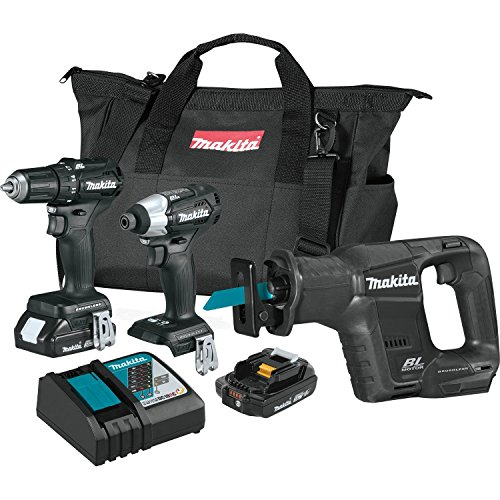 Makita CX300RB 18V LXT Lithium-Ion Sub-Compact Brushless Cordless 3-Pc. Combo Kit (2.0Ah), Black