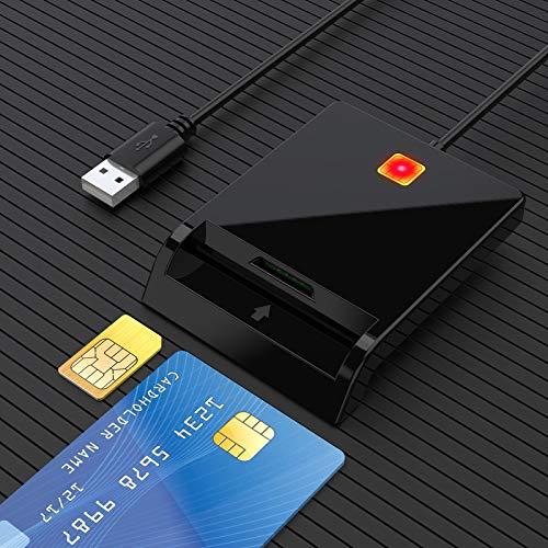 Lettore di schede USB Militare CAC//Dod Rocketek Lettore di Smart Card USB Compatibile con Windows Lettore di schede di Memoria SDHC//SDXC//SD e Micro SD per SIM e MMC RS e 4.0 Linux//Unix MacOS X