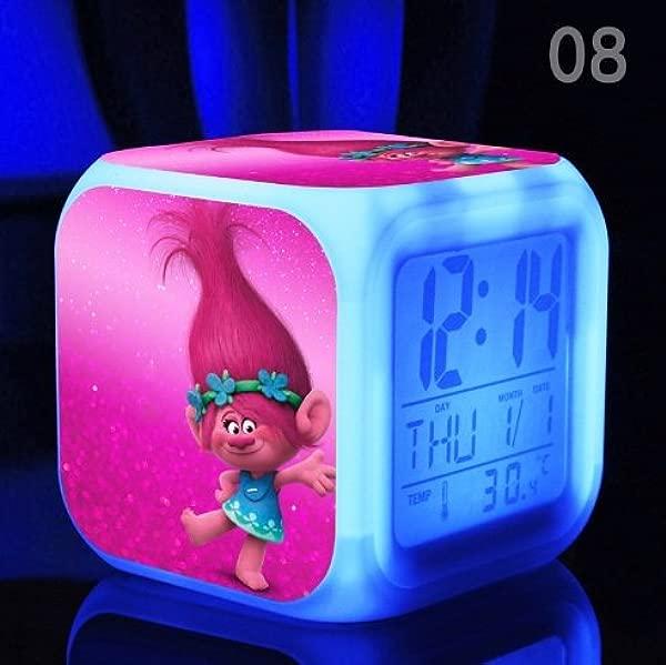 Movie Trolls Poppy DJ Suki Guy Diamond Cooper Branch Critter Skitter Boards Alarm Clock With 7 Changing Colors Cute Cartoon LED Clock Style 8