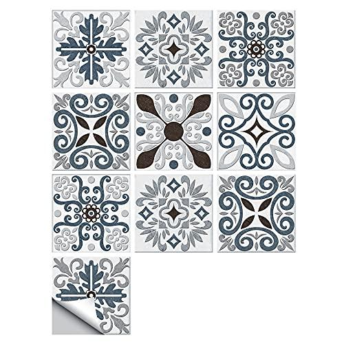 Pegatinas para azulejos de estilo europeo, impermeables, autoadhesivas, retro, cuadradas, para decoración de muebles de cocina, baño, 30 cm x 30 cm x 10 unidades