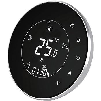 Termostato Wi-Fi per Caldaia a Gas,Termostato intelligente Schermo LCD(VA Schermo) Touch Button Retroilluminato Programmabile con Alexa e Telefono APP-Rotondo/Nero