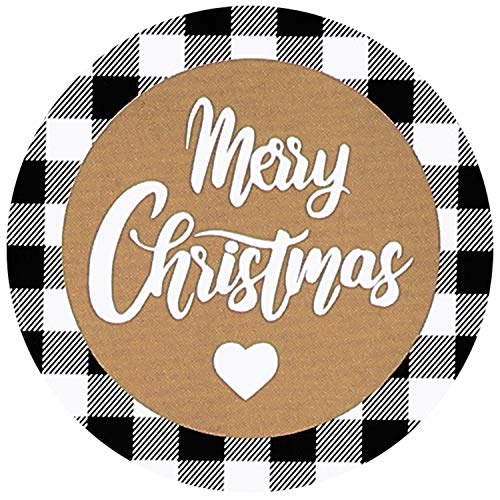 800 Pieces Black and White Buffalo Plaid Christmas Stickers Round Christmas Label 1.5 Inch Merry Christmas Stickers Christmas Tags for Christmas Holiday Cards Envelopes Boxes Happy New Year Stickers