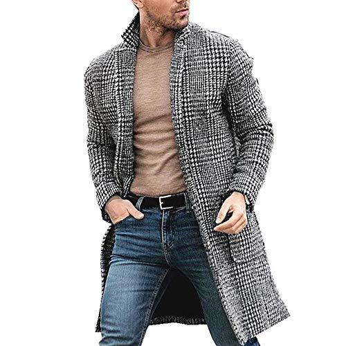 BININBOX Cappotto Casual di Lana da Uomo di Media Lunghezza Stile Scozzese (L)