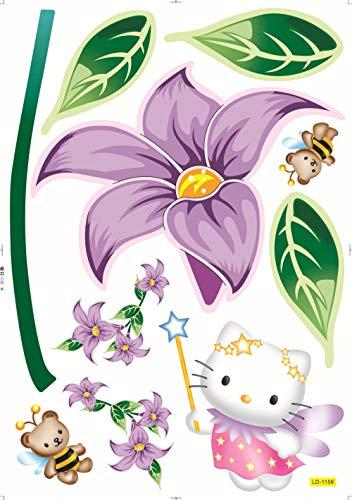 Chambre Salon Décor,Sticker Mural Amovible Sticker Déco Maison Hello Kitty@50X70
