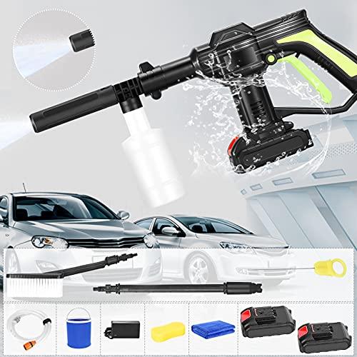 TELAM Hochdruckreiniger Akku 21V, Schnurloser Akku-Hochdruckreinige 2,0 Ah Batterie mit Reinigungsbürste 6 m Schlauch zur Außenreinigung von Hauswand oder Fenster, Auto usw