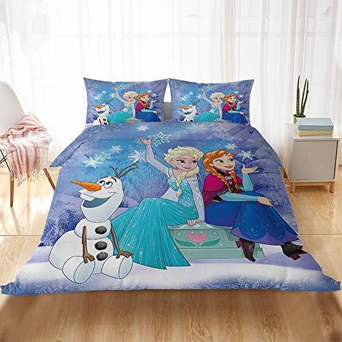 WYWZDQ - Ropa de cama infantil con impresión digital 3D, diseño de Frozen, microfibra antialérgica, ropa de cama con funda de edredón y funda de almohada (B37,135 x 200 cm)