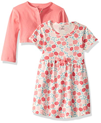 Touched by Nature Baby Girls Organic Cotton Dress and Cardigan, Rosebud, 3-Toddler